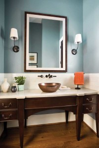 Blue makes a soothing statement in this powder room without overpowering the space.