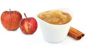 "Collect ""inglorious"" apples for a batch of delicious, ridiculously easy homemade applesauce. Dried-out as it looks, the apple on the left might still work fine for that purpose, while the spotted one only needs a little trimming. If you like pink applesauce, use as much of the red peel as possible. (Photos: Shutterstock)"