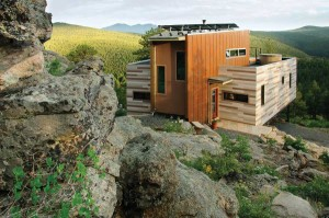 This solar home in the mountains above Nederland started out as a shipping container. Photo by Brad Tomecek.