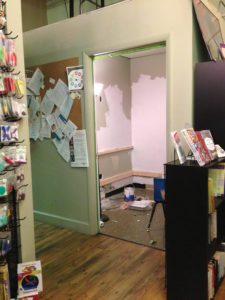"""A spare bathroom at Denver's Autism Community Store undergoes a transition into a """"sensory cave""""—a sensory-deprivation space buffered from strong light and sounds that helps calm autistic children, explains store cofounder Shannon Sullivan. (photo courtesy Autism Community Store)"""